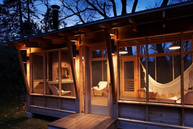 wooden gazebo design with glass