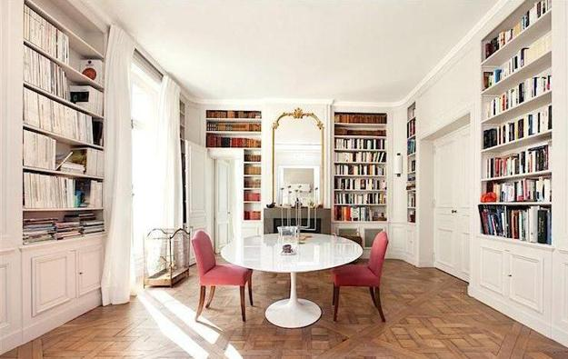White Tulip Table And Upholstered Chairs In Pink Color, Home Library Design