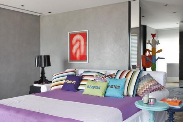 Colorful Bedding Sets And Striped Patters Combined With Neutral Colors Modern Bedroom Decorating Ideas