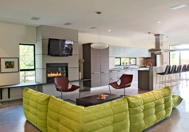 Modern Living Room Design With Togo Sofas In Light Green Color