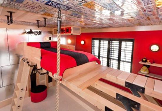 Creative ceiling designs for kids rooms and decorating with red color & 22 New Design Ideas and Trends in Decorating Modern Kids Rooms