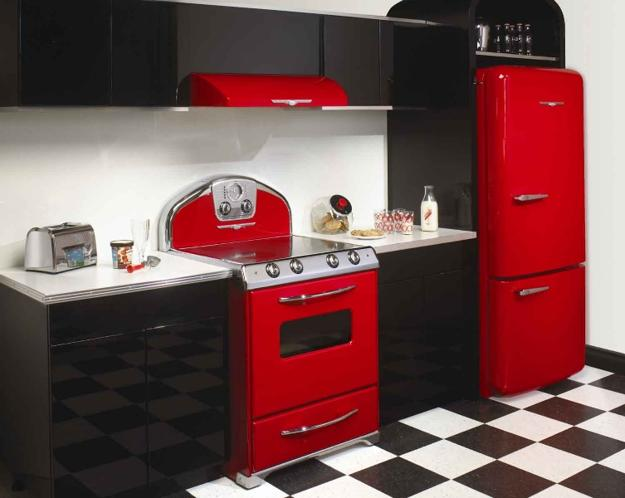 contemporary kitchen cabinets and modern kitchen interiors in vintage style decorated with red colors