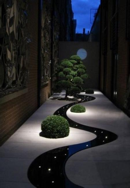 Yard Landscaping With Outdoor Lights