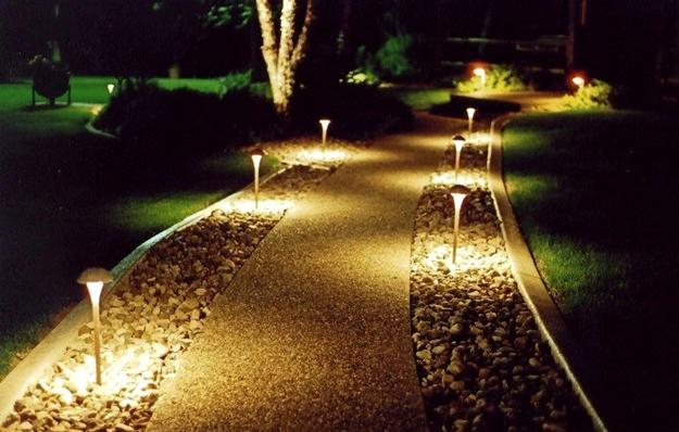 Night Yard Landscaping With Outdoor Lights 25 Beautiful