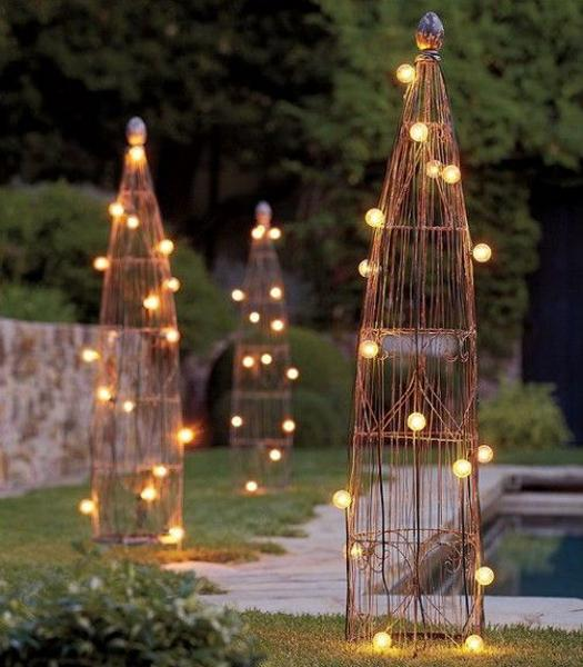 Garden Path With Sculptural Accents Created Outdoor Lights
