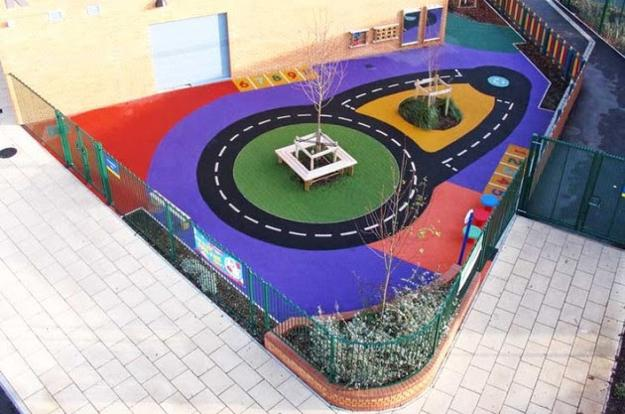 Wetpour Safe Surfacing For Bright And Playful Backyard Designs