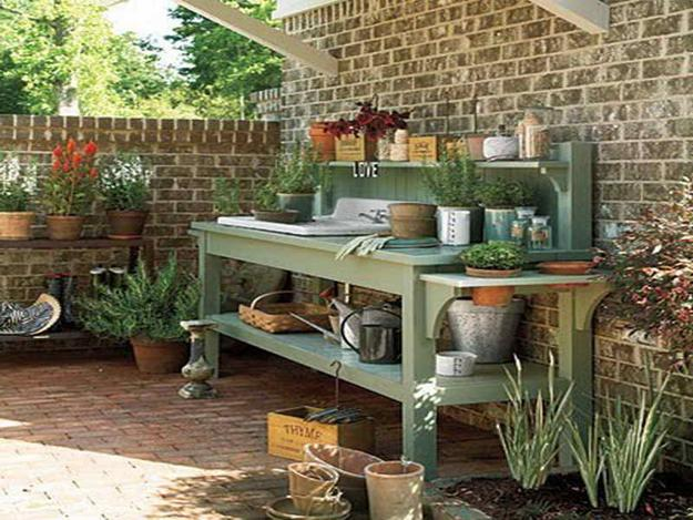 Durable And Comfortable Potting Bench Painted Pastel Green Color