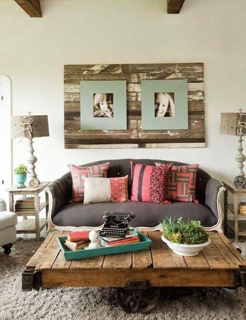 Reclaimed Wood Wall Panel With Photographs Salvaged Coffee Table Green Ideas For Living Room Design And Decorating