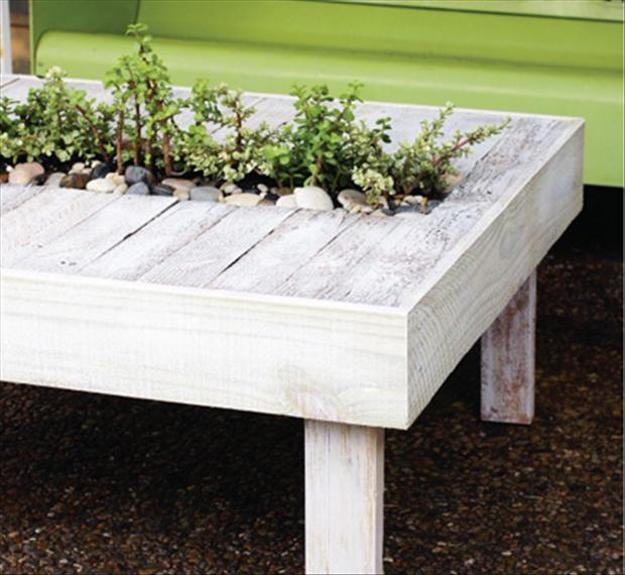 recycled pallets outdoor furniture. Delighful Outdoor Recycling Salvaged Wood For Coffee Table With Miniature Garden Inside Recycled Pallets Outdoor Furniture