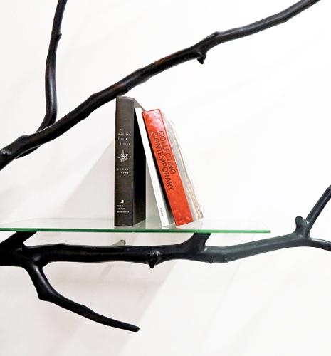 recycling tree branches for glass shelves