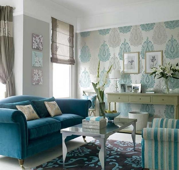 20 Living Rooms With Beautiful Use Of The Color Grey: 22 Ideas To Use Turquoise Blue Color For Modern Interior