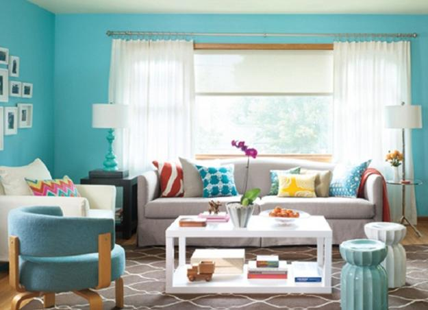 Bright Yellow, Turquoise And Brown Colors, Modern Living Room Design And  Decorating