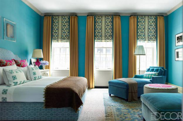 Light Brown And Turquoise Color Combination Bedroom Decorating Ideas