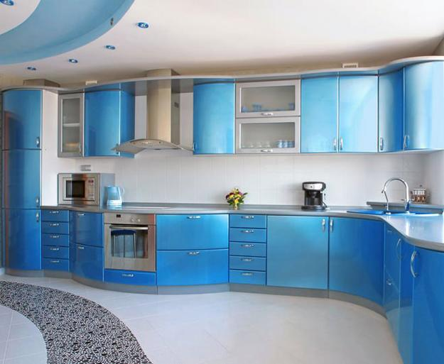 Modern Kitchen Design, Light Blue Kitchen Cabinets