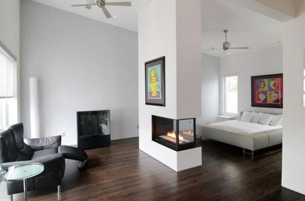 25 Two Sided Modern Fireplaces Working As Beautiful Room