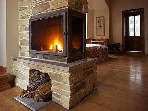 25 two sided modern fireplaces working as beautiful room. Black Bedroom Furniture Sets. Home Design Ideas
