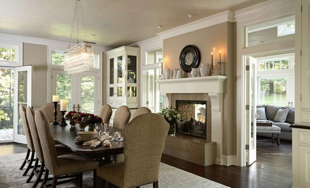 Traditional Fireplace With Two Sided Hearth Between Dining Room And Living