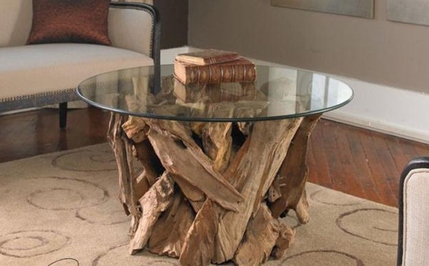 Unusual Glass Top Coffee Table Design In Eco Style