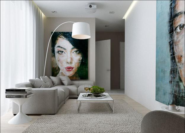 Attrayant Modern Interior Design Ideas, Large Wall Art Adding Contrasts To Room Colors