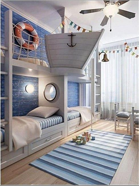 Sea Adventure Inspired Kids Room Design, White And Blue Colors And Nautical  Decor Ideas For Kids Room Decorating