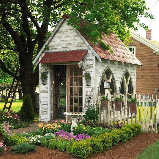 garden shed design and garden house decorating ideas