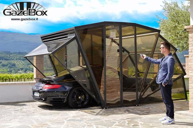 contemporary design idea for carport parking with folding doors and transparent panels