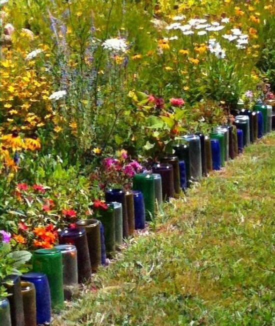 33 Beautiful Flower Beds Adding Bright Centerpieces To: Glass Recycling Ideas For Green Building And Outdoor Home