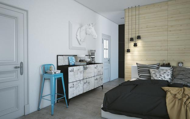 bedroom furniture and accessories in eclectic style