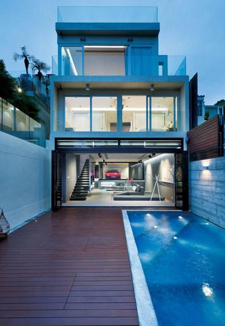 18 Modern Glass House Exterior Designs: Amazing Modern House Design With Glass Walled Garage By