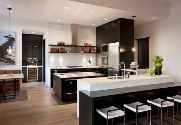 Modern Kitchen Design Enriched By Dark And Light Contrasts