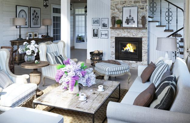Modern Living Room With Stone Fireplace, Cottage Decor Ideas Inspired By  French Country Home Decorating In Provencal Style