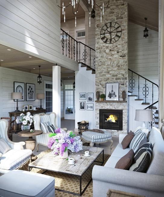Comfortable Family Home Design, Cottage Decor In Neutral