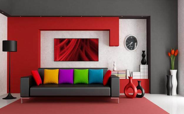 Colorful Living Room Design Black And Red With Other Colors Leather Sofa In