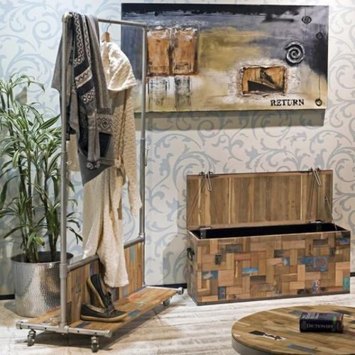salvaged wood trunks for storage and organization