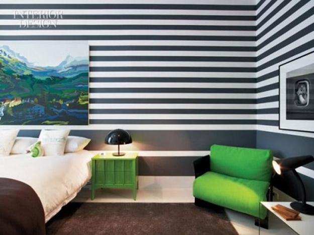 Black And White Striped Modern Wall Painting Ideas