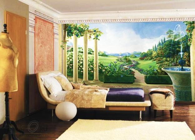 Fresco and Mural Art in Vintage Style Romanticizing Modern Interior