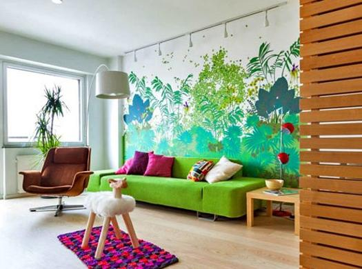 Colorful Wall Painting Ideas And Green Leaves Decoration Patterns