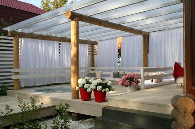 Beau Beautiful Patio Ideas, Wooden Posts, Transparent Roof Design And Decorating  With Flowers