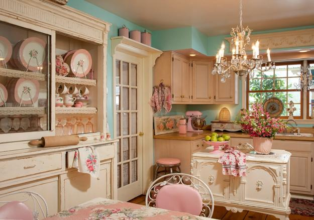 Floral Prints And Fresh Flowers, Soft Pink And White Decorating Ideas,  Vintage Furniture And Decor Accessories, Shabby Chic Ideas