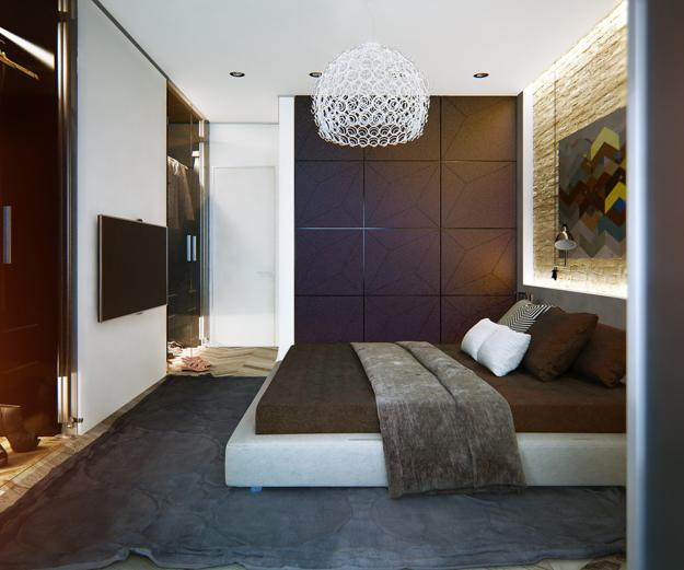 Accented Neutral Color Scheme Bedroom: Modern Apartment Ideas, Single Person Studio Design With
