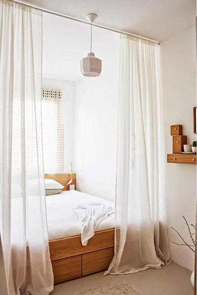 Light curtains for small bedroom design & Modern Interior Design for Small Rooms 15 Space Saving Studio ...