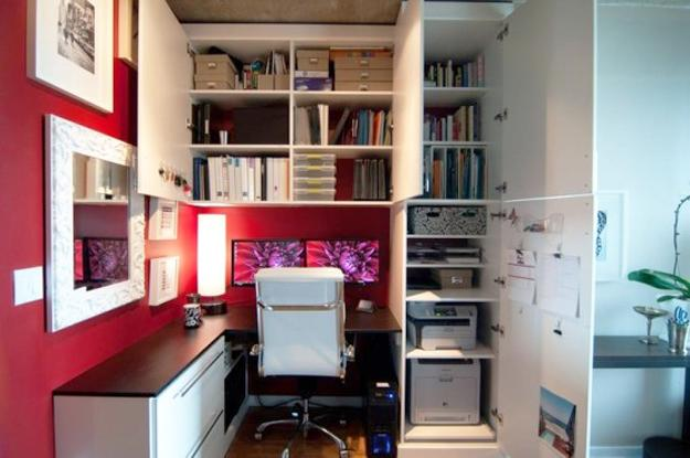 Home office design idea for small spaces & 22 Space Saving Ideas for Small Home Office Storage