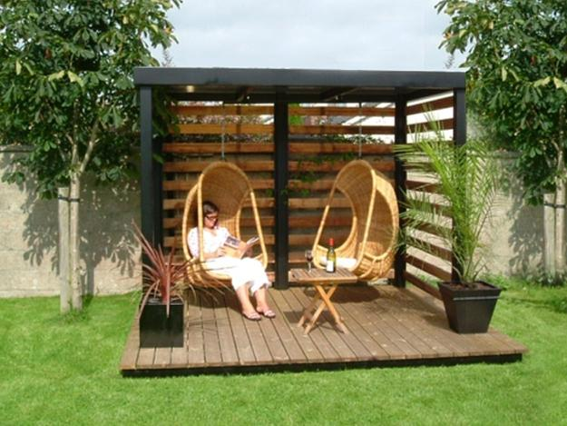 Wooden Gazebo Design In Contemporary Style Hanging Chairs