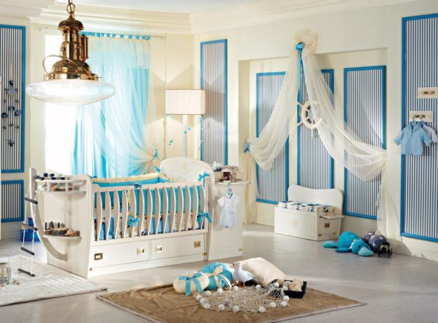 Light Blue And White Colors For Baby Nursery Decor