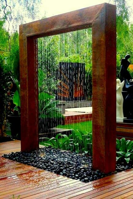 Water Wall Design And Beautiful Yard Landscaping Ideas