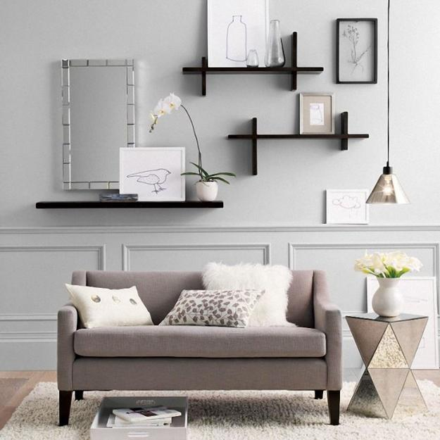 shelving units and wall shelves in modern interiors