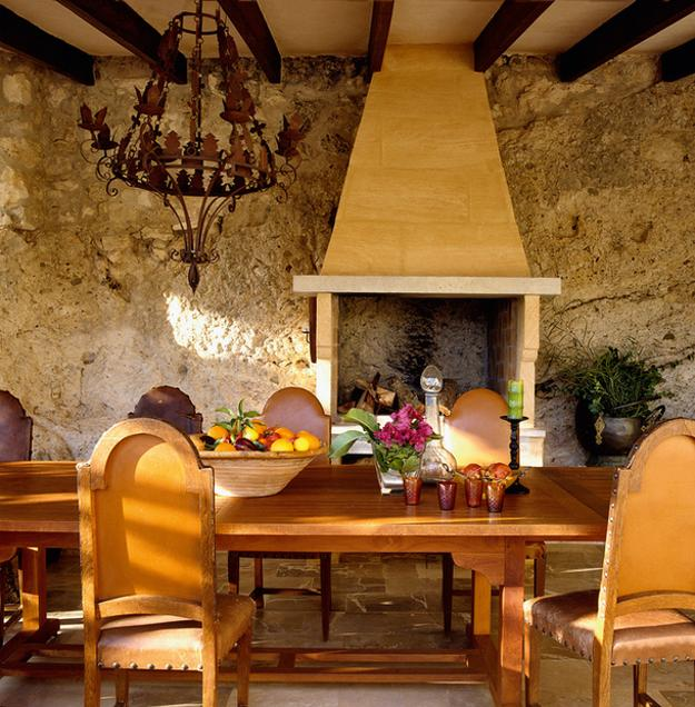 Beautiful Country Home Decorating, Dining Room With Wooden Ceiling Beams,  Stone Floor And Wall Design, Wooden Furniture And Fireplace