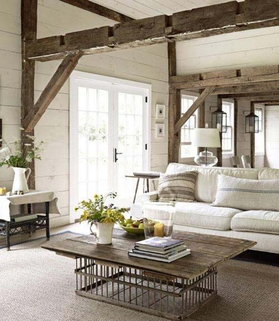 Living Room Design With Salvaged Wood Beams, Country Home Decorating Ideas