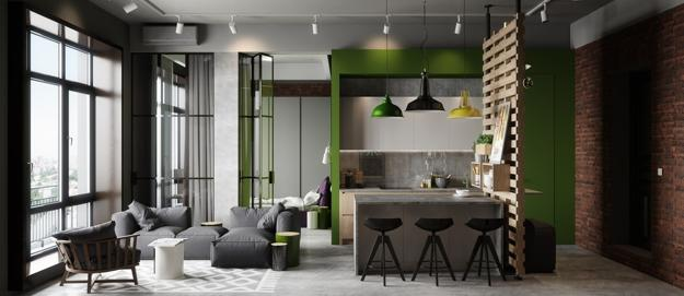 Loft living style modern apartment ideas blending concrete look and accents in green color & Modern Apartment Ideas in Industrial Style Mixing Concrete Wood ...