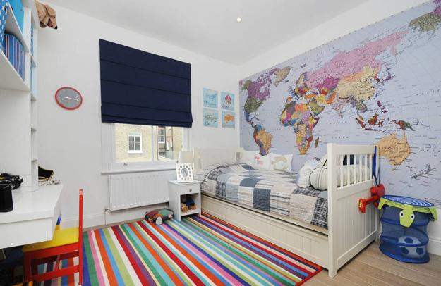 Nice Large Map For Wall Decoration In Child Bedroom